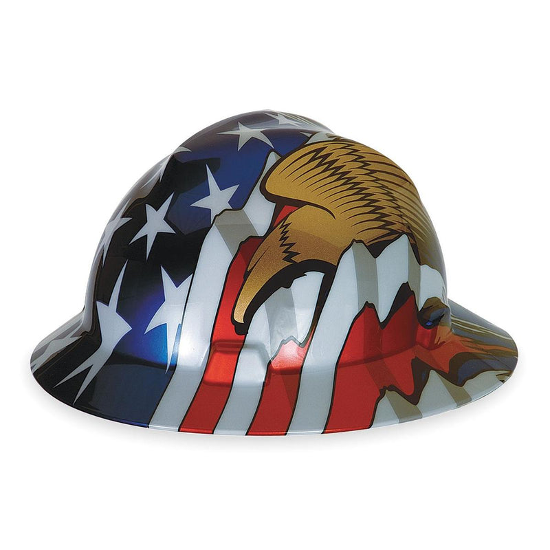 MSA Polyethylene Cap Style Hard Hat With Fas Trac®, American Flag And 2 Eagles Graphics