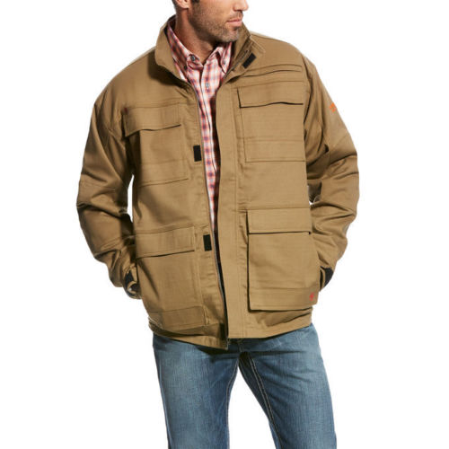 **Men's FR Ariat Canvas Stretch Field Khaki Jacket Coat 10023995