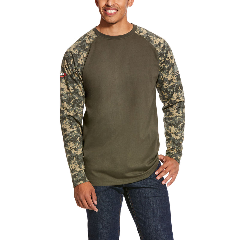 Men's ARIAT FR Patriotic Black Digi/Sage Digi Camo Baseball T-Shirt Henley 10027893, 10027892