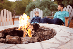 Family with Fire Pit on Deck
