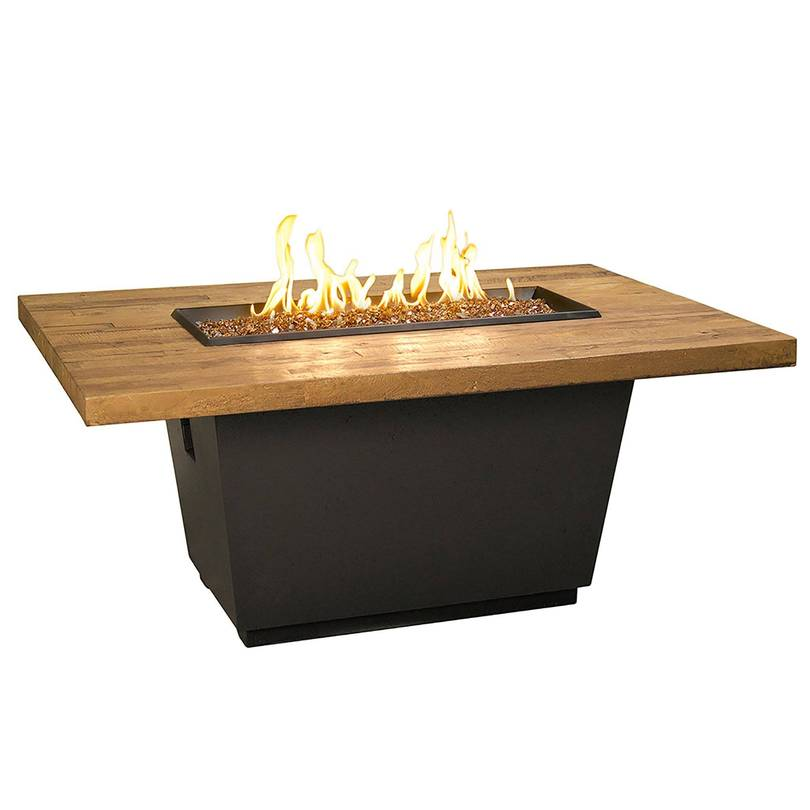 Rectangular fire pit with table