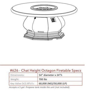American Fyre Designs Chat Height Octagon Fire Table with Concrete Top 626-BA-11-V2NC Fire Tables American Fyre Design