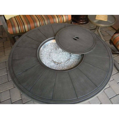 Image of AZ Patio Heaters Brush wood Round Aluminum Fire Pit Table FS-2017-FPT - In Stock Fire Pit AZ Patio Heaters