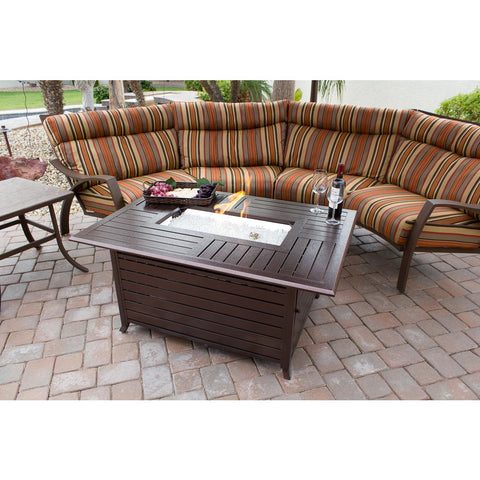 Image of AZ Patio Heaters Rectangular Slatted Aluminum Fire Pit Table FS-1010-T-12 - In Stock Fire Pit AZ Patio Heaters