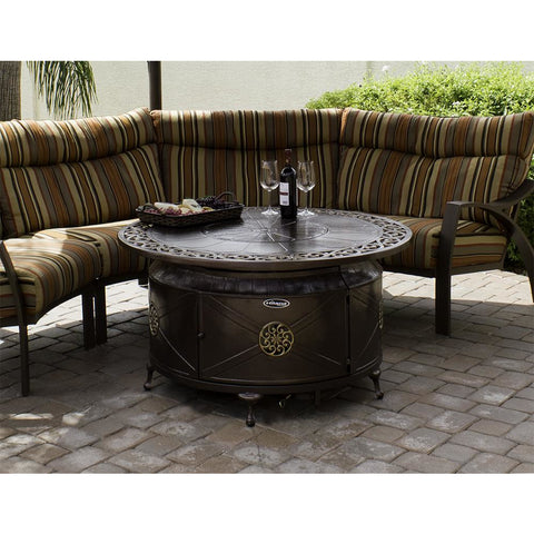 Image of AZ Patio Heaters Round Decorative Aluminum Fire Pit Table - F-1201-FPT - In Stock Fire Pit AZ Patio Heaters