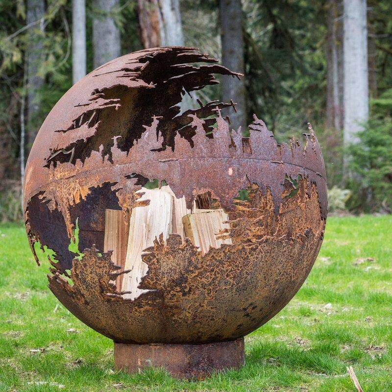 Cedar Creek Sculptures Death Star Wood Burning Fire Pit Fire Pit Cedar Creek Sculptures