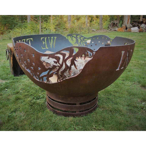 Cedar Creek Sculptures In God We Trust Wood Burning Fire Pit Fire Pit Cedar Creek Sculptures