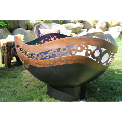 Cedar Creek Sculptures Modern Circles Wood Burning Fire Pit Fire Pit Cedar Creek Sculptures