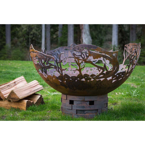 Cedar Creek Sculptures Salmon Wood Burning Fire Pit Fire Pit Cedar Creek Sculptures