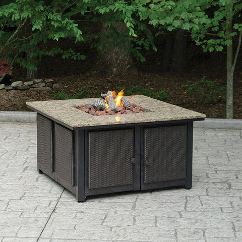 Image of Endless Square Faux Wicker Panels and Electronic Ignition Granite Mantle LP Gas Fire Pit GAD1200B Fire Pit Endless Summer