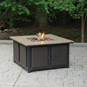 Endless Square Faux Wicker Panels and Electronic Ignition Granite Mantle LP Gas Fire Pit GAD1200B Fire Pit Endless Summer