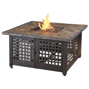 Endless Summer The Elizabeth Square Tile/Marble Mantel LP Gas Outdoor Fire Pit GAD15286G Fire Pit Endless Summer