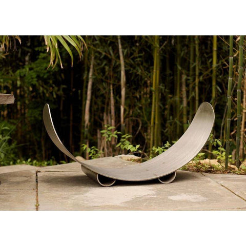 Fire Pit Art Crescent Log Rack In Stainless Steel - CRLR-Stainless Accessories Fire Pit Art