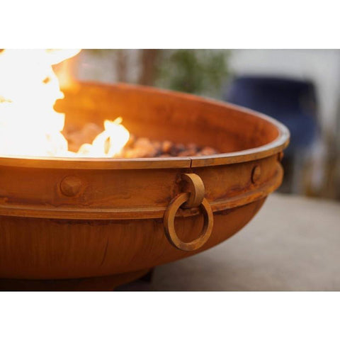 "Image of Fire Pit Art Emperor 39.5"" Handcrafted Carbon Steel Gas Fire Pit - Emperor 39""-MLS120 Fire Pit Fire Pit Art"