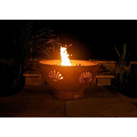 "Fire Pit Art Sea Creatures 36"" Handcrafted Carbon Steel Gas Fire Pit - Sea Creatures-FPA-MLS120 Fire Pit Fire Pit Art"