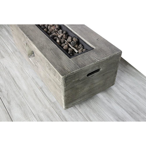 Image of Living Source Cast Concrete Rectangle Gas Fire Pit Table CM-0017 Fire Pit Table Living Source International