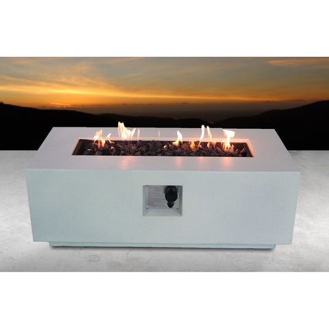 Image of Living Source Cast Concrete Rectangle Gas Fire Pit Table CM-1005 - In Stock Fire Pit Table Living Source International