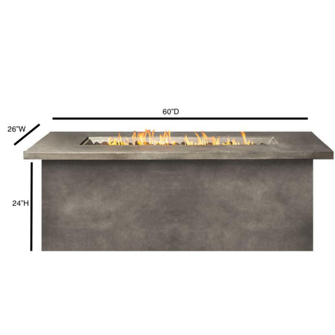 Image of Living Source Cast Concrete Rectangle Gas Fire Pit Table CM-1013C - In Stock Fire Pit Table Living Source International