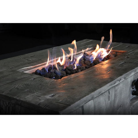 Image of Living Source Cast Concrete Rectangle Gas Fire Pit Table CM-1017G Fire Pit Table Living Source International