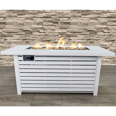 Image of Living Source Cast Concrete Rectangle Gas Fire Pit Table CM-1030 - In Stock Fire Pit Table Living Source International