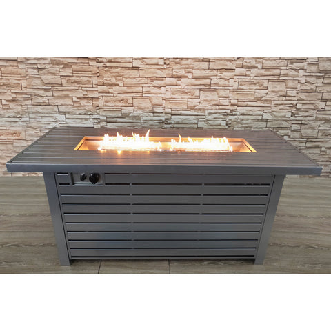 Living Source Cast Concrete Rectangle Gas Fire Pit Table CM-2026 - In Stock Fire Pit Table Living Source International