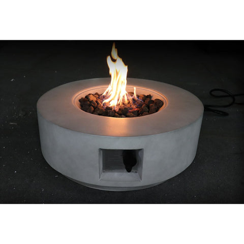 Image of Living Source Cast Concrete Round Gas Fire Pit Table CM-1003C Fire Pit Table Living Source International