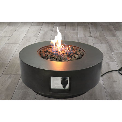 Image of Living Source Cast Concrete Round Gas Fire Pit Table CM-1003G Fire Pit Table Living Source International