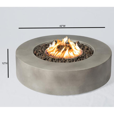 Image of Living Source Cast Concrete Round Gas Fire Pit Table CM-1016C - In Stock Fire Pit Table Living Source International