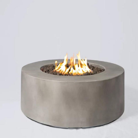 Living Source Cast Concrete Round Gas Fire Pit Table CM-1016C - In Stock Fire Pit Table Living Source International
