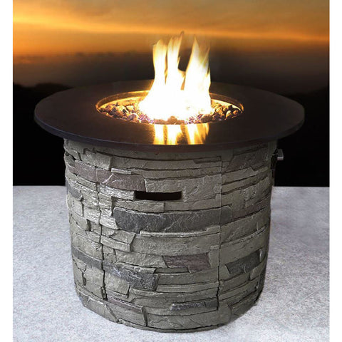 Living Source Cast Concrete Round Gas Fire Pit Table with Propane Tank Enclosure CM-1004 Fire Pit Table Living Source International