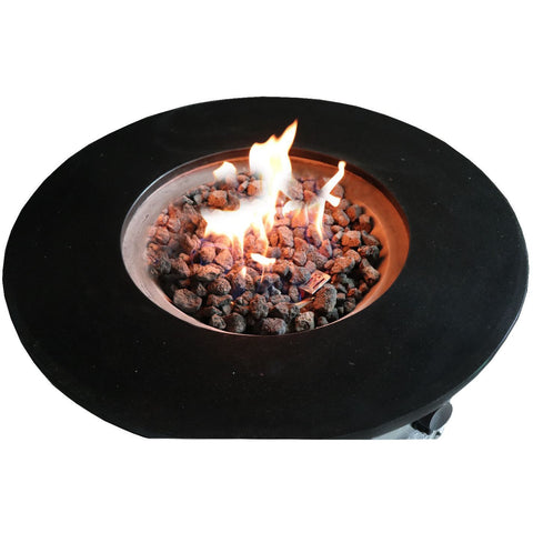 Image of Living Source Cast Concrete Round Gas Fire Pit Table with Propane Tank Enclosure CM-1004 Fire Pit Table Living Source International