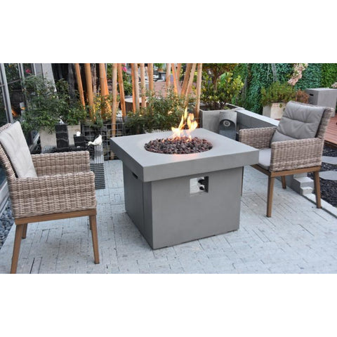 Image of Modeno Burlington Concrete Fire Pit Table - OFG303 Fire Pit Table Modeno Liquid Propane Light Grey