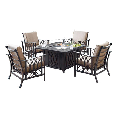 Oakland Living Armenia-Cave 5-Piece Outdoor Fire Table Set - ARMENIA-CAVE-5PC-AC Outdoor Fire Table Sets Oakland Living