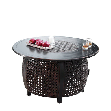 "Oakland Living Cave 42"" Round Propane Fire Pit Table - CAVE-FPT-AC Fire Pit Table Oakland Living"