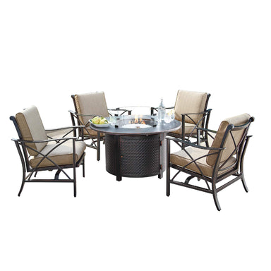 Oakland Living Chile-Matera 5-Piece Outdoor Fire Table Set - CHILE-MATERA-5PC-AC Outdoor Fire Table Sets Oakland Living