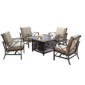 Oakland Living Chile-Mayan 5-Piece Outdoor Fire Table Set - CHILE-MAYAN-5PC-AC Outdoor Fire Table Sets Oakland Living