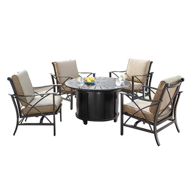 Oakland Living Chile-Nobu 5-Piece Outdoor Fire Table Set - CHILE-NOBU-5PC-AC Outdoor Fire Table Sets Oakland Living