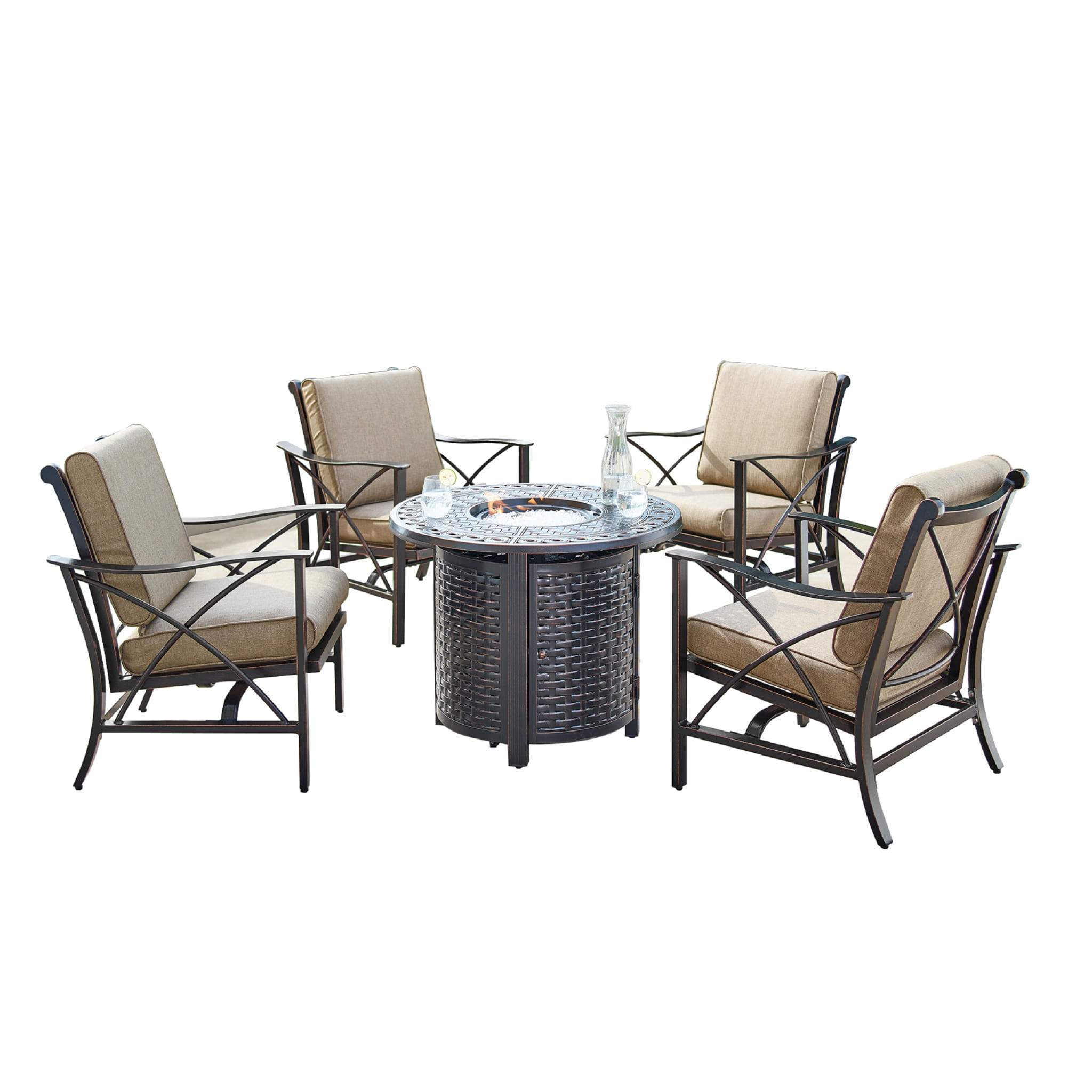 Oakland Living Chile-Romero 5-Piece Outdoor Fire Table Set - CHILE-ROMERO-5PC-AC Outdoor Fire Table Sets Oakland Living