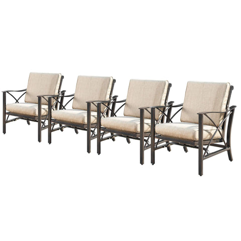 Image of Oakland Living Chile-Romero 5-Piece Outdoor Fire Table Set - CHILE-ROMERO-5PC-AC Outdoor Fire Table Sets Oakland Living