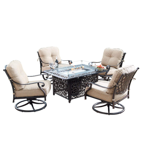 Image of Oakland Living Finland-Cabos 5-Piece Outdoor Fire Table Set - FINLAND-CABOS-5PC-AC Outdoor Fire Table Sets Oakland Living