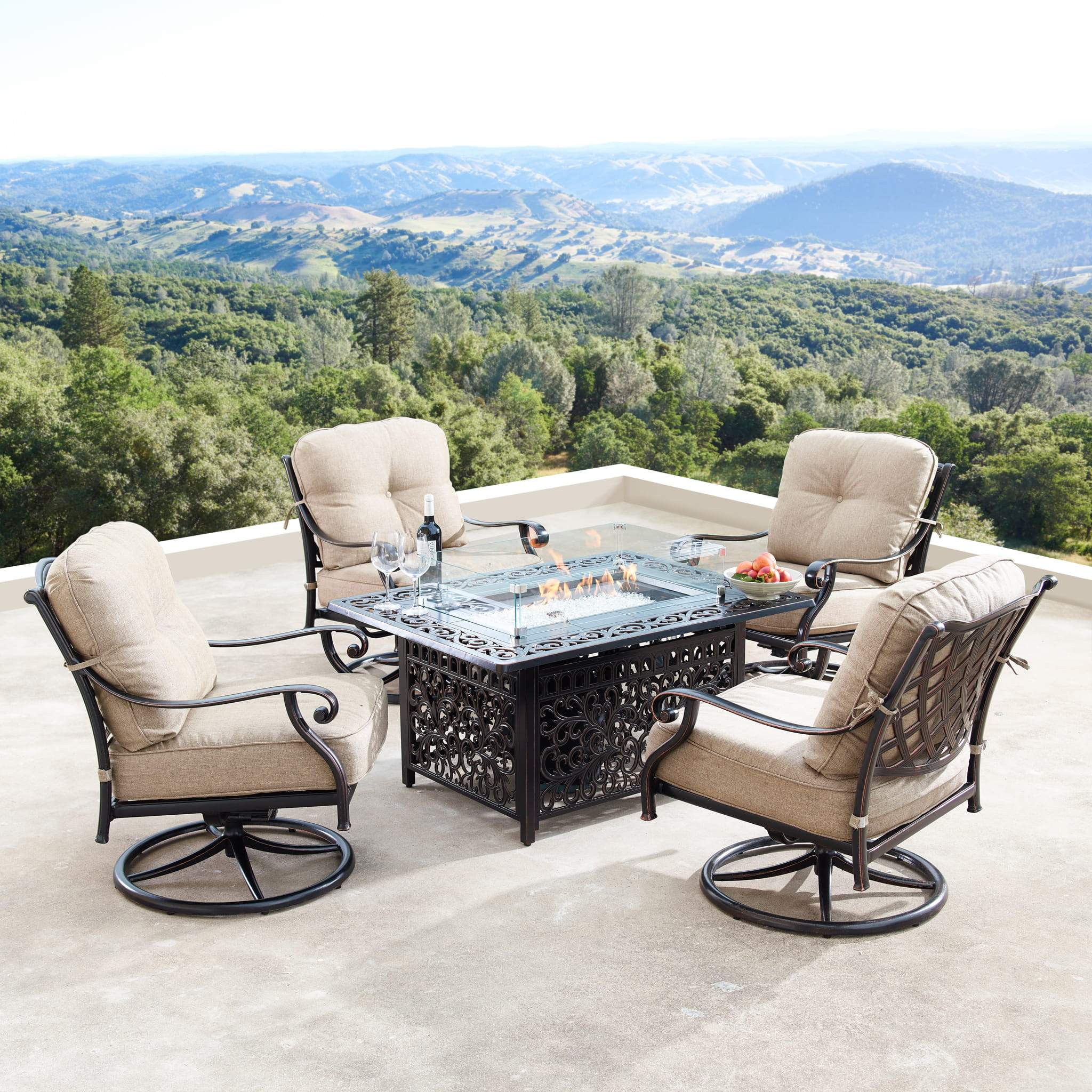 Oakland Living Finland-Cabos 5-Piece Outdoor Fire Table Set - FINLAND-CABOS-5PC-AC Outdoor Fire Table Sets Oakland Living