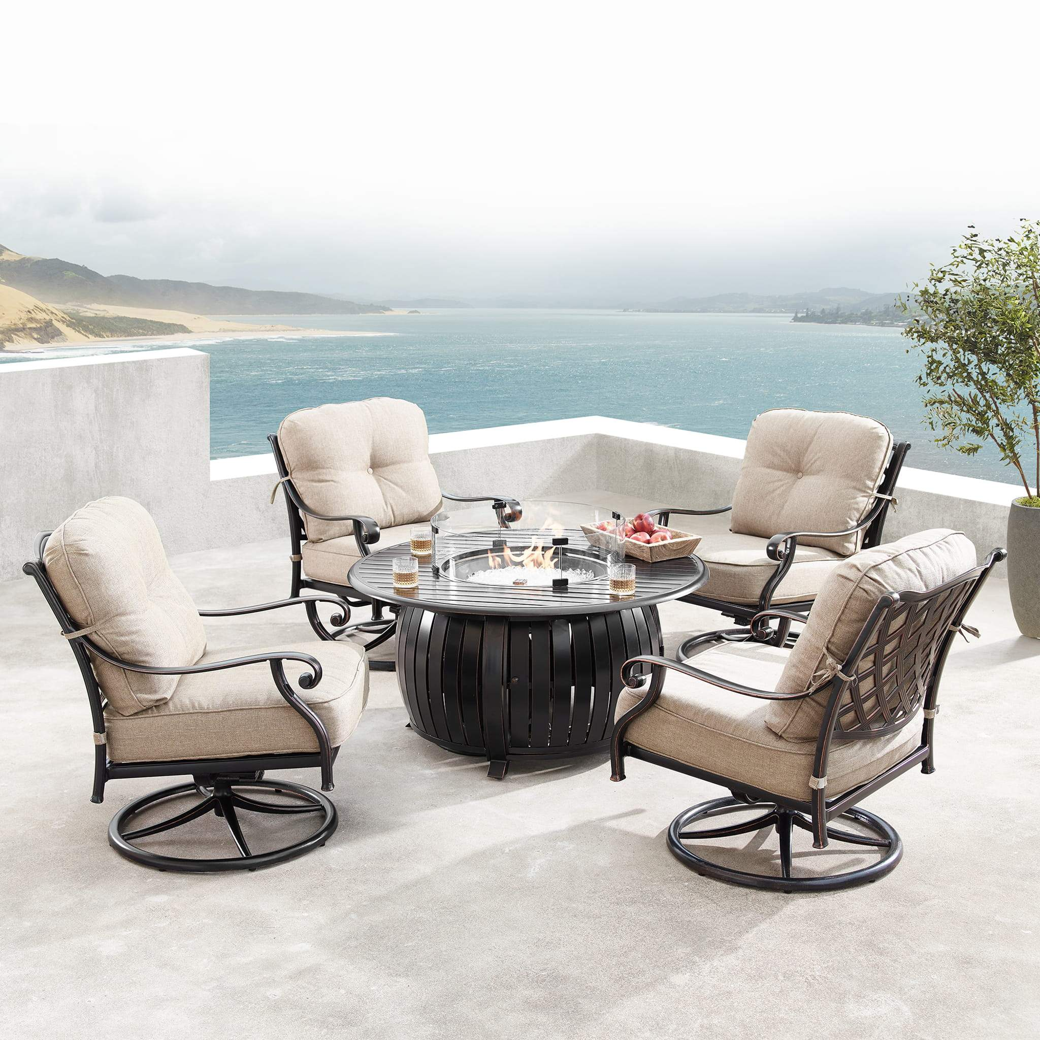 Oakland Living Finland-Italy 5-Piece Outdoor Fire Table Set - FINLAND-ITALY-5PC-AC Outdoor Fire Table Sets Oakland Living