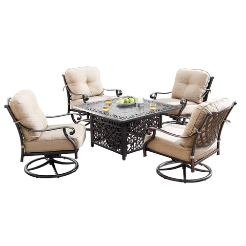 Image of Oakland Living Finland-Mayan 5-Piece Outdoor Fire Table Set - FINLAND-MAYAN-5PC-AC Outdoor Fire Table Sets Oakland Living