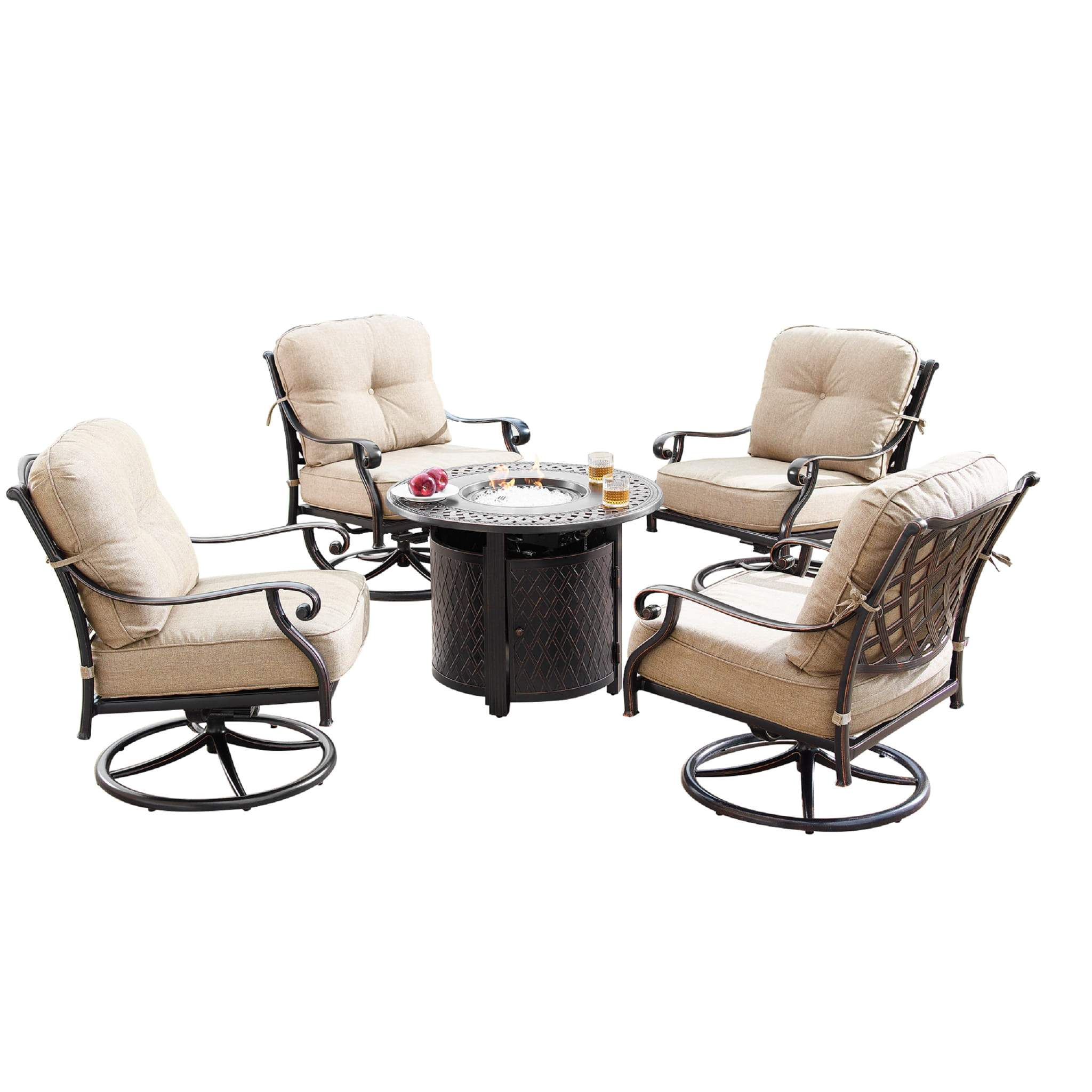 Oakland Living Finland-Ritz 5-Piece Outdoor Fire Table Set - FINLAND-RITZ-5PC-AC Outdoor Fire Table Sets Oakland Living