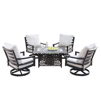 Oakland Living Hudson-Cabos 5-Piece Outdoor Fire Table Set - HUDSON-CABOS-5PC-AC Outdoor Fire Table Sets Oakland Living