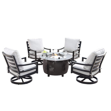 Oakland Living Hudson-Cliff 5-Piece Outdoor Fire Table Set - HUDSON-CLIFF-5PC-AC Outdoor Fire Table Sets Oakland Living