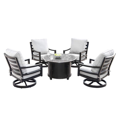 Oakland Living Hudson-Dubai 5-Piece Outdoor Fire Table Set - HUDSON-DUBAI-5PC-AC Outdoor Fire Table Sets Oakland Living