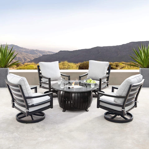Image of Oakland Living Hudson-Italy 5-Piece Outdoor Fire Table Set - HUDSON-ITALY-5PC-AC Outdoor Fire Table Sets Oakland Living