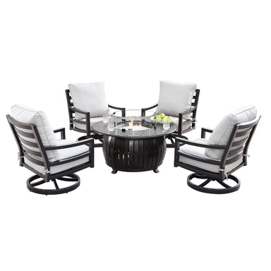 Oakland Living Hudson-Italy 5-Piece Outdoor Fire Table Set - HUDSON-ITALY-5PC-AC Outdoor Fire Table Sets Oakland Living