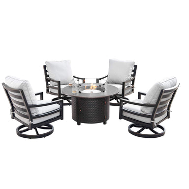 Oakland Living Hudson-Matera 5-Piece Outdoor Fire Table Set - HUDSON-MATERA-5PC-AC Outdoor Fire Table Sets Oakland Living